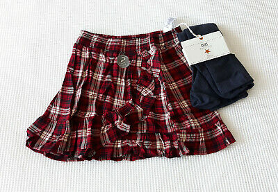 Next Girls Red Check Rufftle Trim Skirt & Grey Tights Age 12 Yrs Bnwt Tag £21