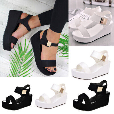 Women Flat Low Platform Wedge Sandals Wedge Casual Thick Heels Summer Shoes Size