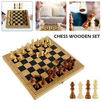 Folding Large Chess Wooden Set Chessboard Magnetic Pieces Wood Board Toy Gift UK