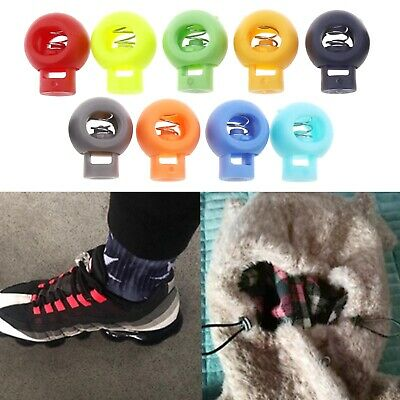 100Pcs Spring Cord Locks Toggle Stoppers Plastic Spherical Shoelace 10-colored