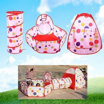 3 in 1 Play Tent Kids Toddlers Tunnel Set Pop Up Children Baby Cubby Play Tent