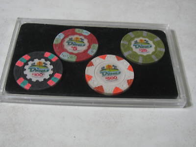 Set of 4 Original Used Casino Chips from the Dunes Casino in Las Vegas in a Case