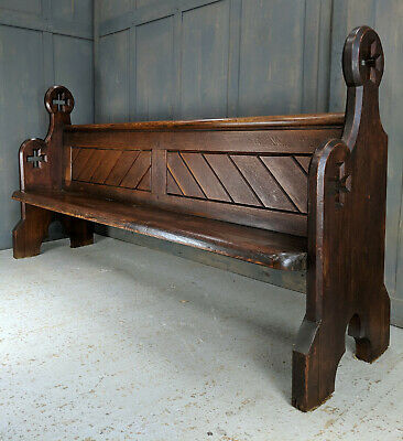 209cm Long Big Cross Ended Antique Pitch Pine Pews from All Saints, Portsmouth