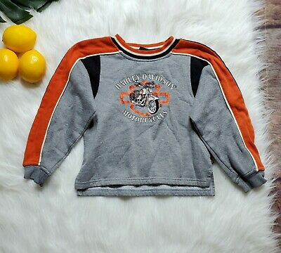 Harley Davidson Boys Classic Sweatshirt Sz 7 Gray Orange Graphic Vintage