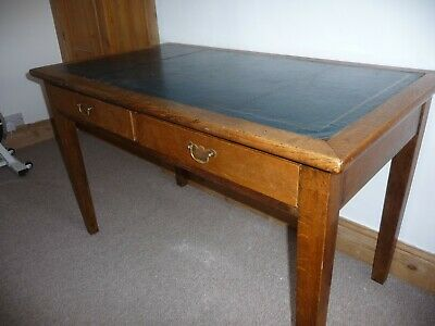 Antique Vintage Small Oak  Writing Desk Table, 2 Drawers