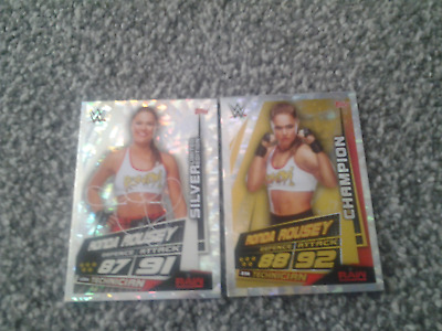 slam attax universe ronda rousey  silver limited edition and champion card mint