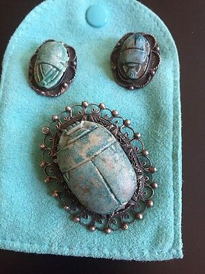 ANTIQUE EGYPTIAN Scarabs,  3pc, Sterling Setting, Rare, Hieroglyphics