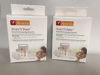 Ameda Store 'N Pour Breast Milk Storage Bags STARTER KIT 40 bags 4 adapters NEW
