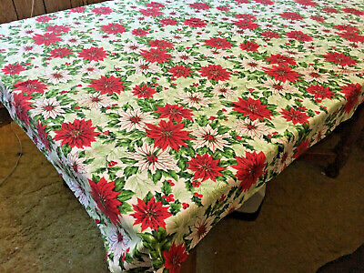 Vintage Colorful White~Red Poinsettia Pattern Fabric CHRISTMAS Tablecloth, # 18