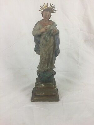 """Madonna Hand Carved Virgin Mary Stepping on Snake 15"""" High, Wooden"""