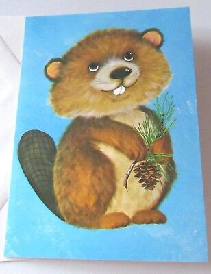 Unused Vtg Blank Note Card Cute Beaver with Pine Cone and Branch