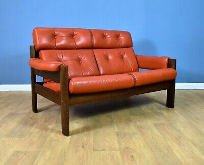 Mid Century Retro Swedish Red Leather High Back 2 Seat Sofa Settee 1960s 70s