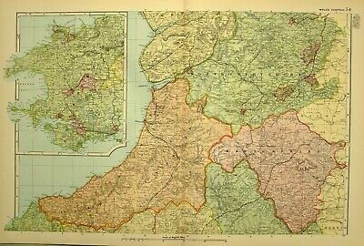 1902 Antique Map Wales Central Radnorshire Montgomery Pembrokeshire Hay