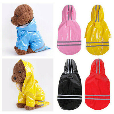 Reflective Dog Puppy Teddy Cat Hooded Rain Coat Waterproof Pet Clothes Rainwear