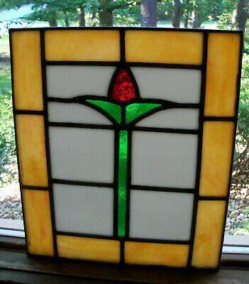 Antique ART DECO MISSION RED GREEN LEADED STAINED GLASS WINDOW PANEL 9X11
