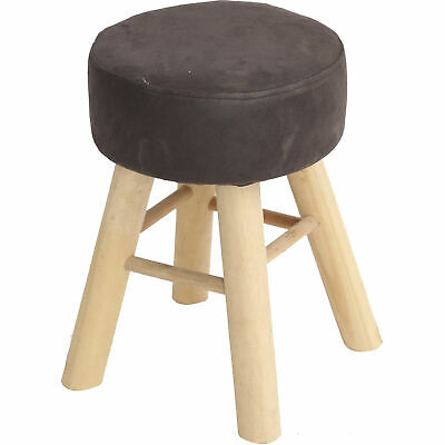 Footstool with Wooden Legs Grey