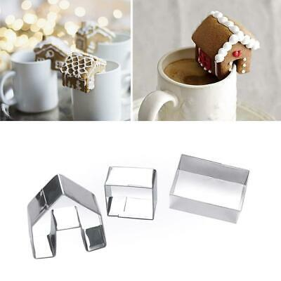Decor Cookie Christmas Gingerbread House Biscuit Mold Creative Steel P5X6