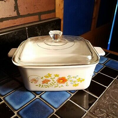 DEEP LOAF PAN Corning Ware. WILDFLOWER With Lid. 1-1/2 Qt.