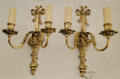 Antique French Louis XV style Solid bronze pair of sconces  # 1255