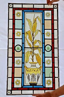 Original Victorian stained glass, 3 panels, hand painted floral 'Arts & Crafts'