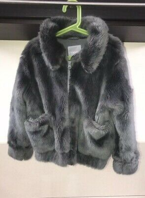 Next Girls Grey Faux Fur Jacket Coat Size 6 Years Great Condition