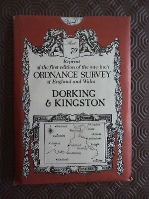 Ordnance Survey Map David & Charles Old Reprint Dorking Kingston Bracknell Epsom