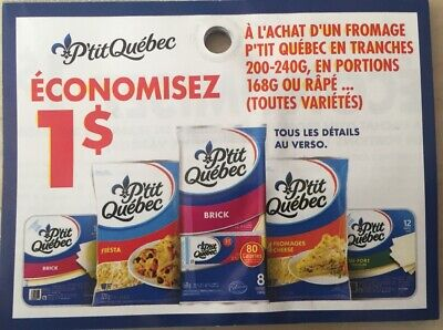 Lot of 20 x 1.00$ Kraft P'tit Quebec Products Coupons Canada