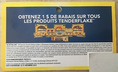 Lot of 20 x 1.00$ Tenderflake Products Coupons Canada