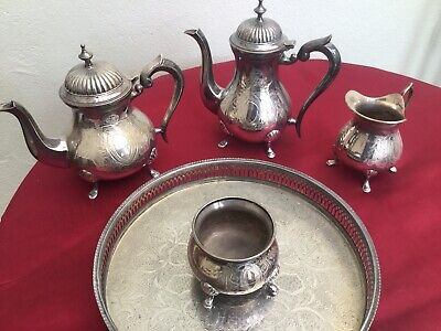Vintage EPNS Silver Plated 4 Piece Tea/ Set With Tray
