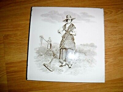 Mintons Victorian Tile ~ William Wise ~ Lady Raking Hay ~ Very Good Condition