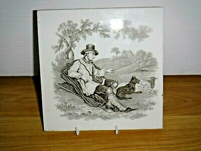 Mintons Victorian Tile ~ William Wise ~ A Man and His Dog ~ Very Good Condition