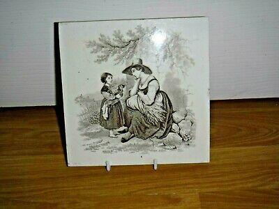 Mintons Victorian Tile ~ William Wise ~ A Lady And A Girl ~ Very Good Condition