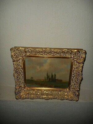 Old oil painting, ( Landscape with a village & church, is signed, nice frame! ).