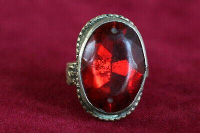 Vintage Tribal Silver Ring, Huge CZ Ruby Ring US Size 8 Stone size 20x15mm