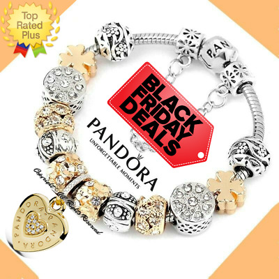 Authentic Pandora Bracelet Silver GOLD HEART Good Luck with European Charms New