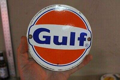 Gulf Gasoline Service Station Porcelain Metal Dealer Sign Garage Gas Oil Farm 66