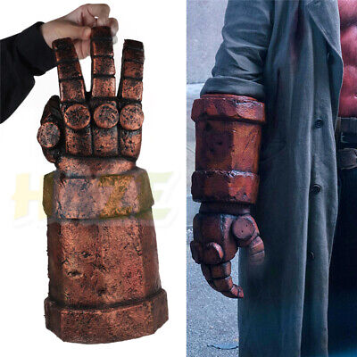 Movie Hellboy Cosplay Mask with Wig Arm Gloves Latex Halloween Costume Adult