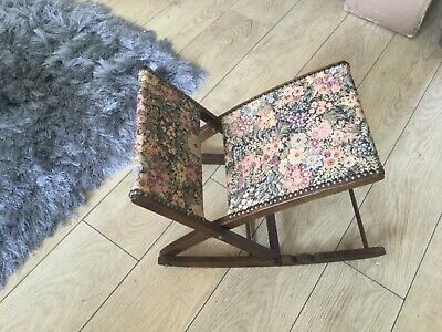 Vintage rocking footstool wooden Padded Tapestry Cushioned Mid Century