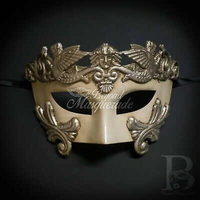 Gold Mens Greek Roman Warrior Gladiator Theater Venetian Masquerade Mask