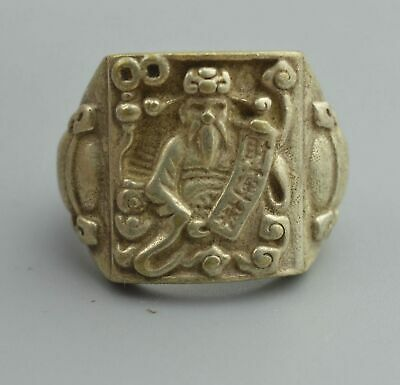 Ancient Collectable Handwork Old Miao Silver Carve Buddha Hold Wealth Lucky Ring