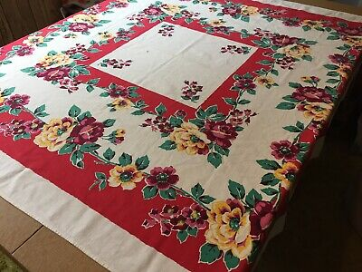 Vintage Linen Square Tablecloth with Red, Yellow & Pink Roses.