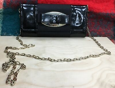 Ted Baker Black Patent Clutch Bag/Purse With Chain  #691