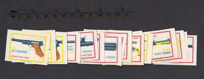 Series of Old Czechoslovakian Matchbox Labels from 1968 - Historical Weapons