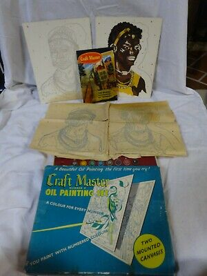 Vtg 60s CRAFT MASTER Numbered Oil Paint 2 Canvases 1 New Paint by Number In Box