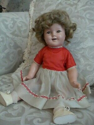 "1930s 18"" Early SHIRLEY TEMPLE IDEAL Compo Composition Doll Marked Head & Body"