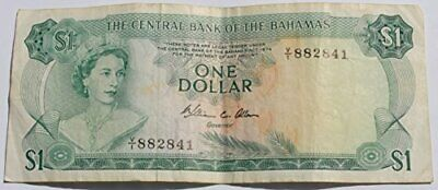 1974 The Central Bank Of The Bahamas 1 Dollar Bank Note Queen Elizabeth II