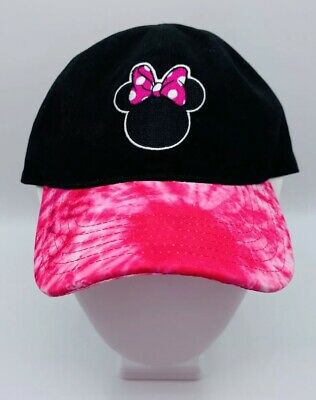 Disney Minnie Mouse Baseball Cap Black Pink Tie Dye Bill Strapback Women's Hat