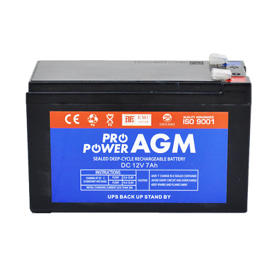 PRO POWER 12V 7Ah Sealed Lead Acid Alarm Security Rechargeable AGM Battery 1270