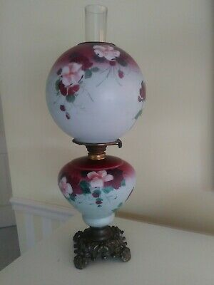 Antique Vtg Converted Hand Painted Gone With The Wind GWTW Glass Parlor Oil Lamp