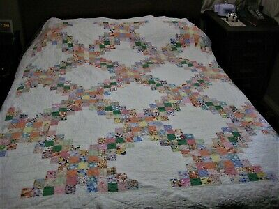 "Vintage Hand Made Hand Quilted Quilt 76"" x 84"""